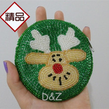 Круглый кошелек вышитый бисером портмоне зеленый Лось монета бисерный кошелек ручной работы сумка