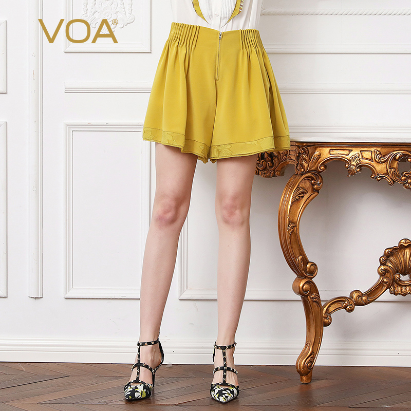 VOA Embroidery Heavy Silk Shorts Skirts Women Plus Size 5XL Loose Yellow Casual Short Pants Mini Short Trouser Summer K155