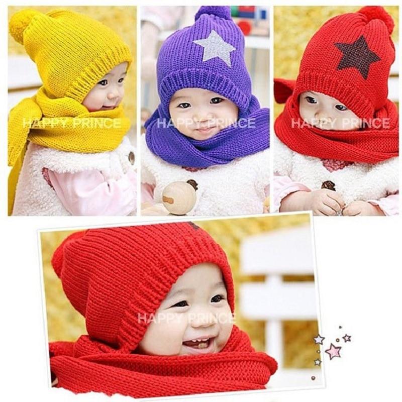 Розничная, комплект из шапки и шарфа для малышей, шерстяная шапка и шарф для малышей, зимняя детская шапка, вязаные шапки со звездой, вязаная шапка для детей