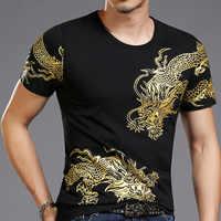 Nueva camiseta estampada con tótem de dragón en 3d Bronzing para hombre, camisetas de manga corta para hombre, ropa Casual de calle alta para adelgazar talla asiática 4XL