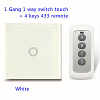 Remote Control Touch Switches Panel Light Wall Waterproof Crystal Glass 1 Gang 1 Way 433MHz Pilot
