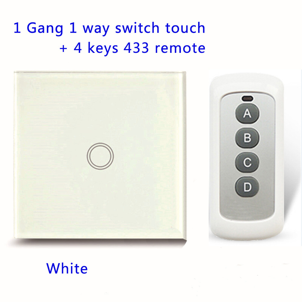 Remote Control Touch Switches Panel Light Wall waterproof crystal glass 1 Gang 1 Way 433MHz+ Pilot.EU/UK standard  With Pilot smart home us au wall touch switch white crystal glass panel 1 gang 1 way power light wall touch switch used for led waterproof