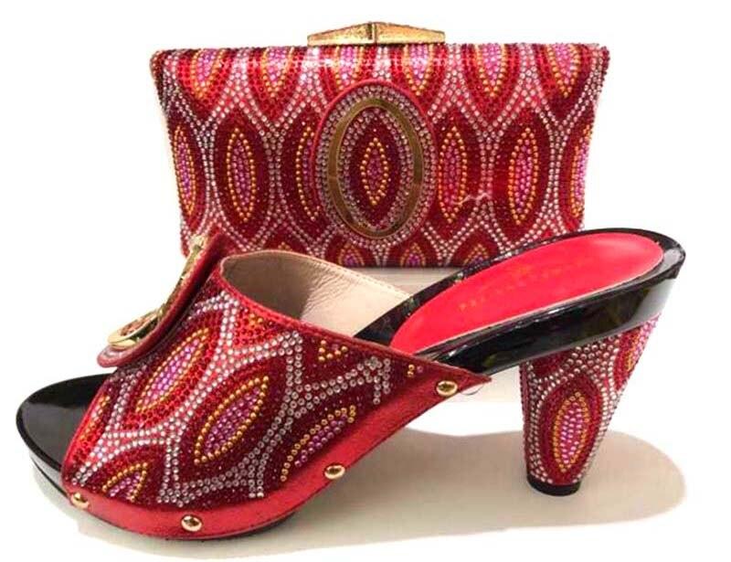 Zoll 3 High Farbe Afrikanische Party Dame Spiel Und Tasche Schuhe 4 Heel Sb8172 Rot In Ebi Aso Schuh Ferse Strass Hohe Set Zu nIq0BxwqS