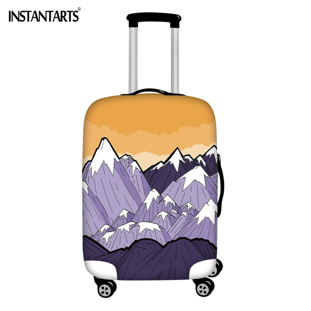 INSTANTARTS Mountains Under The Orange Sky Printing Luggage Cover Apply To 18-30 Inch Travel Suitcase Waterproof Thick Covers