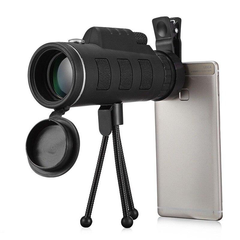 40X60 HD divkārša fokusa monokulārs ar kompasu tālruņa klipsi. Statīva pārnēsājams optiskais teleskops, kas paredzēts āra aktivitātēm