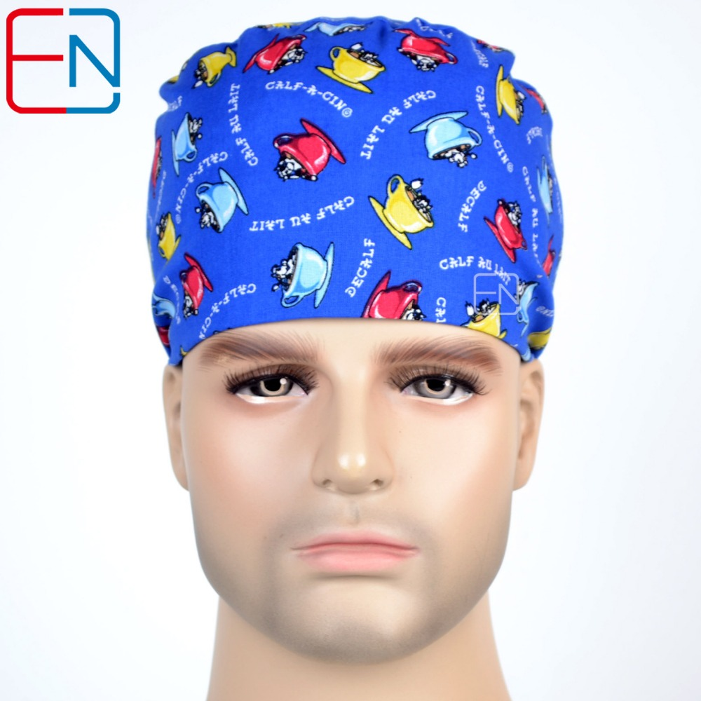 Hennar Doctor Hats Mask Unisex Surgical Scrub Medical Sergury Blue Hats Caps-Pixi -Cafe Time 2018 Men Women Top Quality