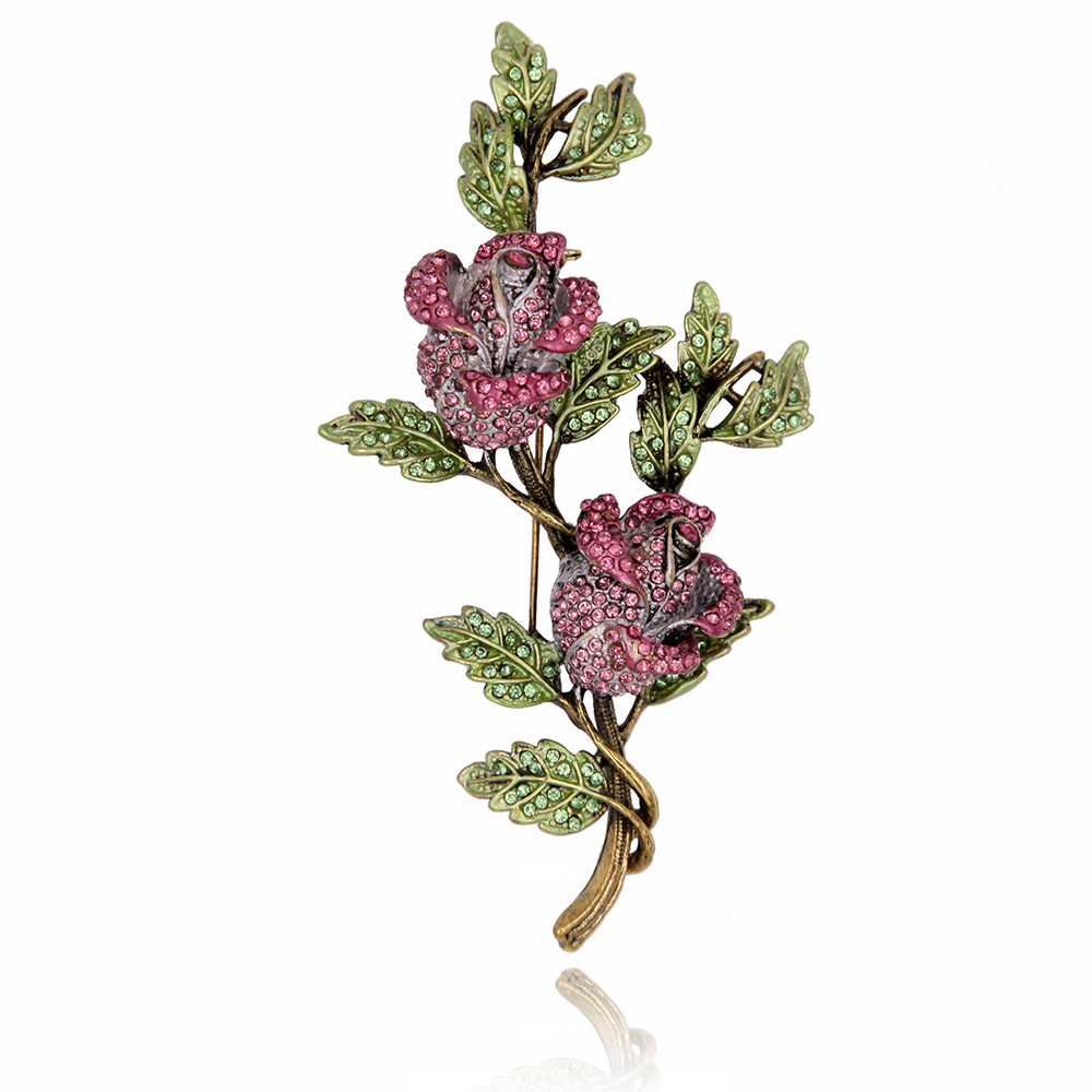 Crystal Rhinestone Rose Flower Brooch Pin Metal Tree Branch Leaves Vintage Fashion Jewelry Women Garment Accessory vintage red rhinestone bean sprout brooch for women