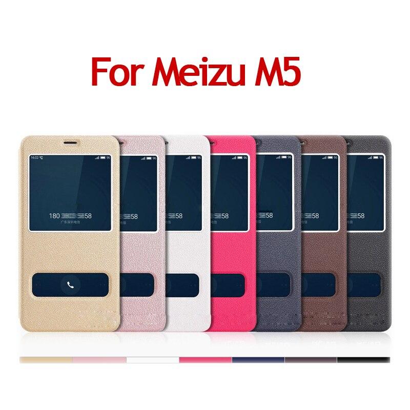 Luxury Flip Leather Phone Case For Meizu M5 5 2 Inch Anti knock Smart Sleep Window