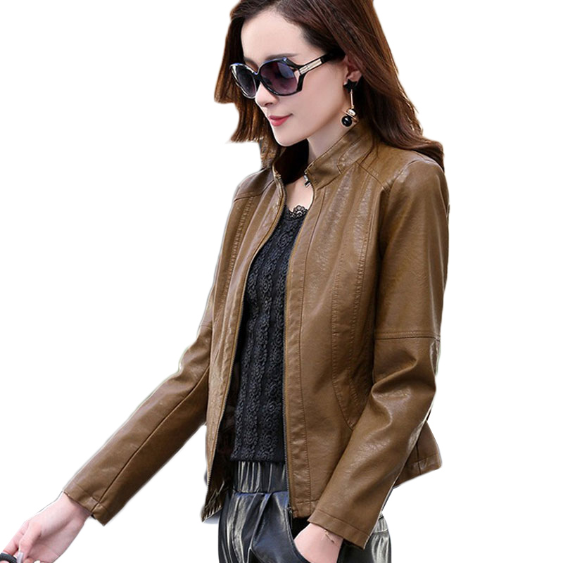 Haute qualité femmes veste en cuir printemps automne nouvelle mode moto Biker veste Stand Slim poche courte en cuir manteau hauts