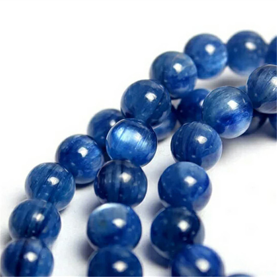 7mm Genuine Blue Natural Kyanite Bracelets Women Stretch Round Bead Crystal Three Laps Bracelet in Bracelets Bangles from Jewelry Accessories