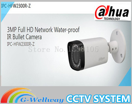 Free DHL shipping Dahua 3.0MP 2.7mm~12mm Motorized network IR-bullet camera security IR water-proof IPC-HFW2300R-Z dahua 2 7mm 12mm motorized lens 2mp wdr ir eyeball network camera ipc hdw5231r z free dhl shipping