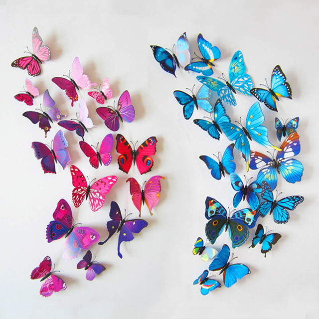 3d diy beautiful butterfly wall stickers wall art home for Making butterfly decorations
