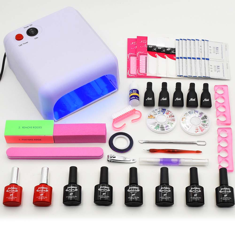 Nail Gel Soak-off Gel polish Top & Base Coat gel nails polish kit 36W UV LED lamp 6 colors art tools kits sets manicure nail art tools manicure sets 18w uv lamp nail dryer 6 colors soak off gel nail polish top gel base coat nail kits