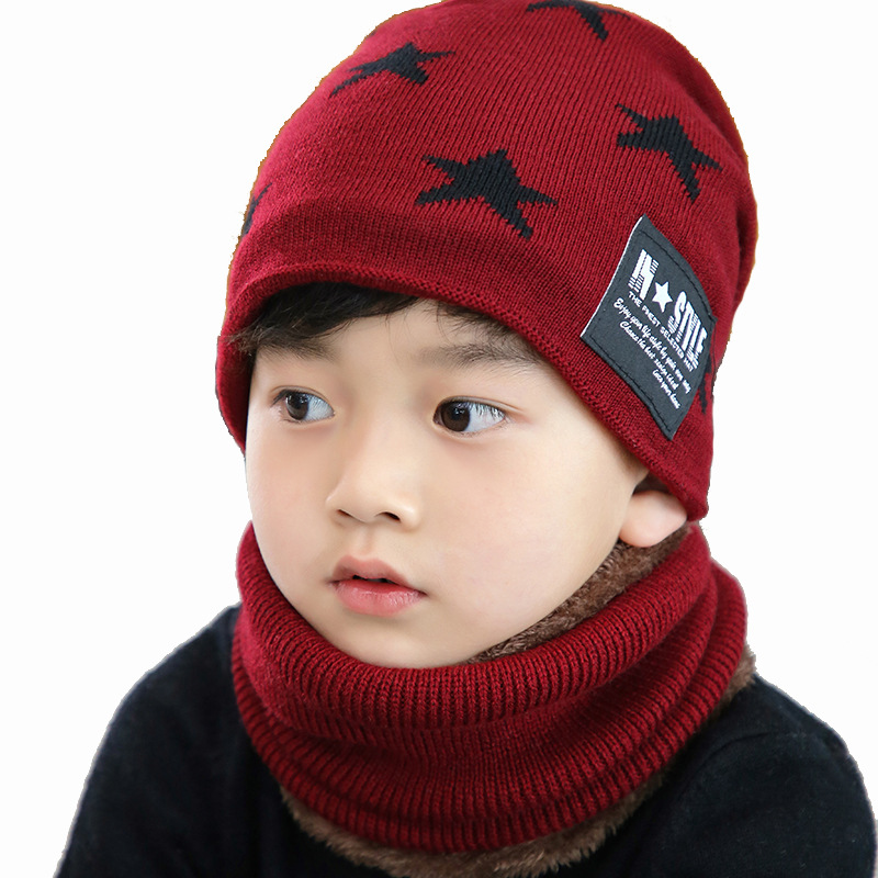 5c32f4288b8  DINGDNSHOW  2018 Brand Beanies Hat Kids Cotton Winter Cap Sets Warm Print  Stars Knitted Hat Baby Bonnet Hat Boys Skullies Hat-in Skullies   Beanies  from ...