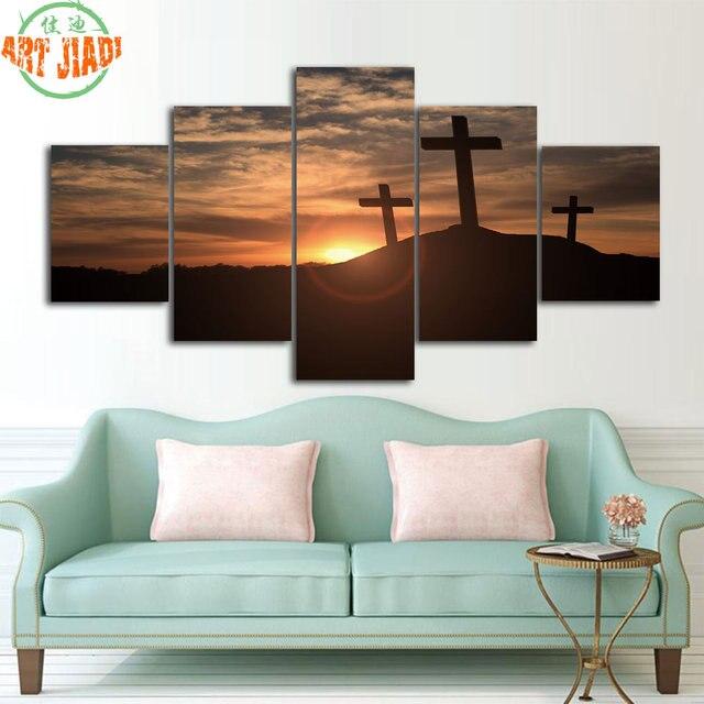 4 Piece Set Or 5 Pieces Set Canvas Art Sunset Jesus Christ Cross Hd