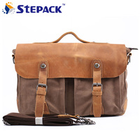 Vintage Canvas Crazy Horse Leather Casual Men S Messenger Bag Crossbody Bag For Men Shoulder Bag