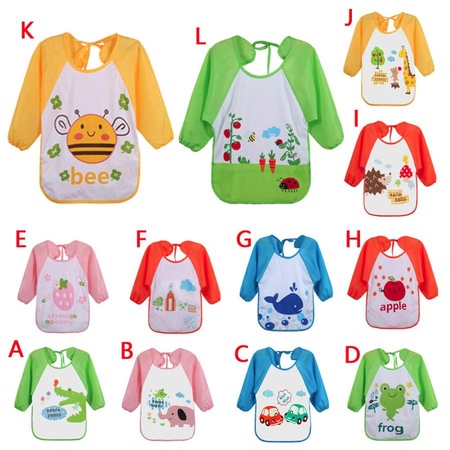 BMF TELOTUNY Fashion Baby Toddler Kids Long Sleeve Cartoon Polar Fleece Feeding Art Apron Bib Smock Apr9 Drop Ship