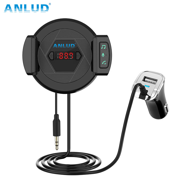 ANLUD Handsfree Bluetooth Car Kit Bluetooth Aux Hands Free Car Kit Music Player with Car Phone Holder USB Charger FM Transmitter gf7carkit driver high quality headsets business earbuds hands free earphones phone bluetooth car kit with car charger