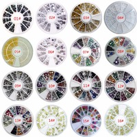 3D Charms Nail Art Wheel Design Stone Decorations Strass Jewelry DIY Nailart Adhesive Rhinestones Mix