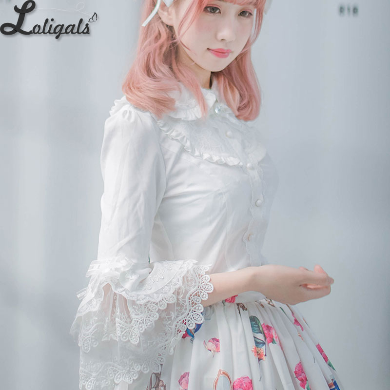 2019 Victorian Lolita White/Black Blouse Women's Lace Long Flare Sleeve Lolita Shirt
