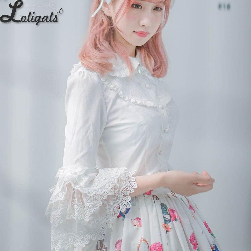 2019 victorien Lolita blanc/noir Blouse femmes dentelle manches longues Flare chemise Lolita