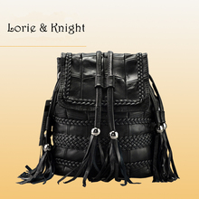 Female Soft Lambskin Genuine Leather Tassel Woven Shoulder Bag Multi-usage Black Punk Bags