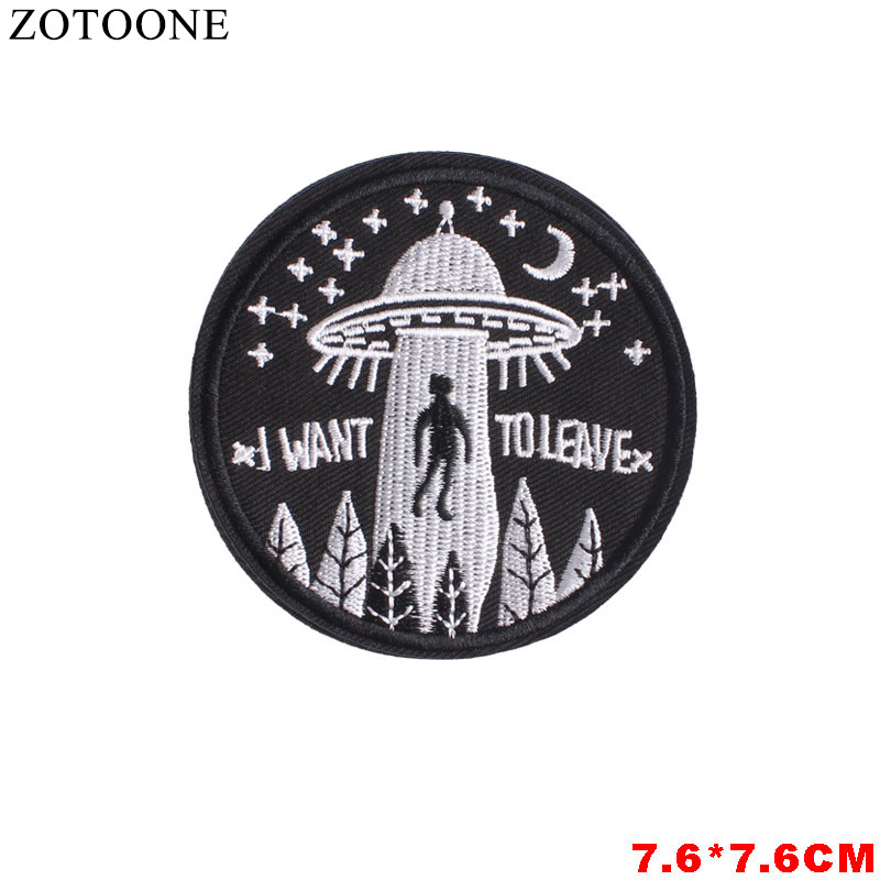 ZOTOONE Alien Biker Iron on Patches for Clothing Stickers Applique Diy Stranger Things Unicorn Embroidery Patch Stripes Clothes in Patches from Home Garden