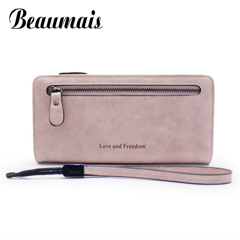 Beaumais High Capacity Women Wallets Long Dull Polish PU Leather Wallets Female Zipper Clutch Coin Purse Ladies Wristlet DB5851 2017 hot sale women wallets dull polish wallet double day clutch purse wristlet portefeuille handbags m0027