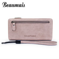 Beaumais High Capacity Women Wallets Long Dull Polish PU Leather Wallets Female Zipper Clutch Coin Purse