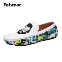 Fotwear Mens Loafer Slip-on casual shoes Men Driving Lightweight sole Mustache Man head portrait Looks Cool cushioning