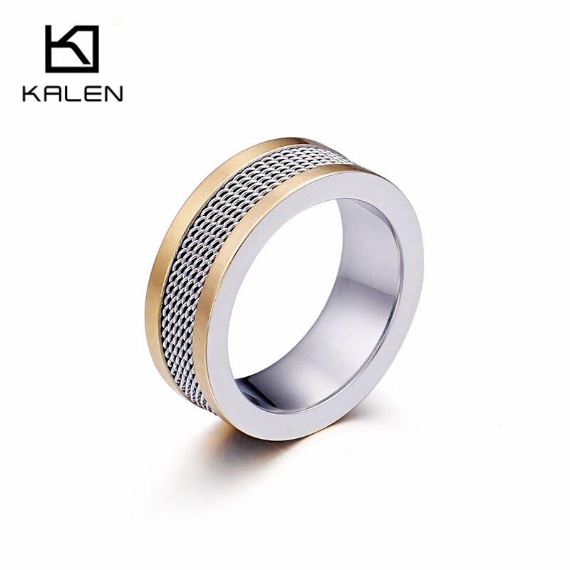 KALEN Neue Trendy Mesh Ringe Für Frauen Männer Größe 7-11 Edelstahl Schwarz Gold Mesh Finger Ringe Für hochzeit Engagement Schmuck