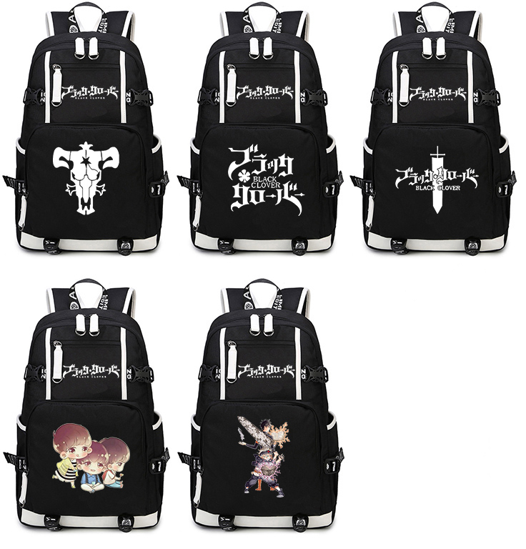 Black Clover Backpack Cosplay Anime Asta Canvas Bag Schoolbag Travel Bags