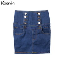 Ksenia 2017 New Sexy Fashion Mini Skirts High Waist Double breasted Button Blue Womens Short Skirt Plus Size 4XL Cowboy faldas