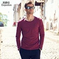 Enjeolon marka yeni rahat uzun kollu t gömlek adam örme pamuk siyah kırmızı katı baz Giyim Üstleri Tee ücretsiz gemi RST8905-1