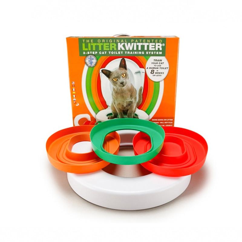 Image 2 - idYllife Cat training Toilet Seat Pet Plastic litter Box Tray Kit  Professional Trainer Clean Kitten Healthy Cats Human ToiletCat Litter  Boxes