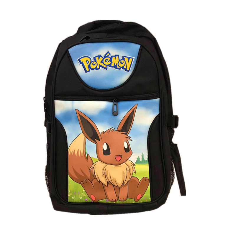 FVIP Poke School Backpack Poke Go Bag Game Pocket Monster Eevee Picachu Computer Backpacks Fashion Travel Bags climate 2017 pocket monster go game pikachu flat snapback caps adult men women animation cartoon cute comic orange eevee hat cap