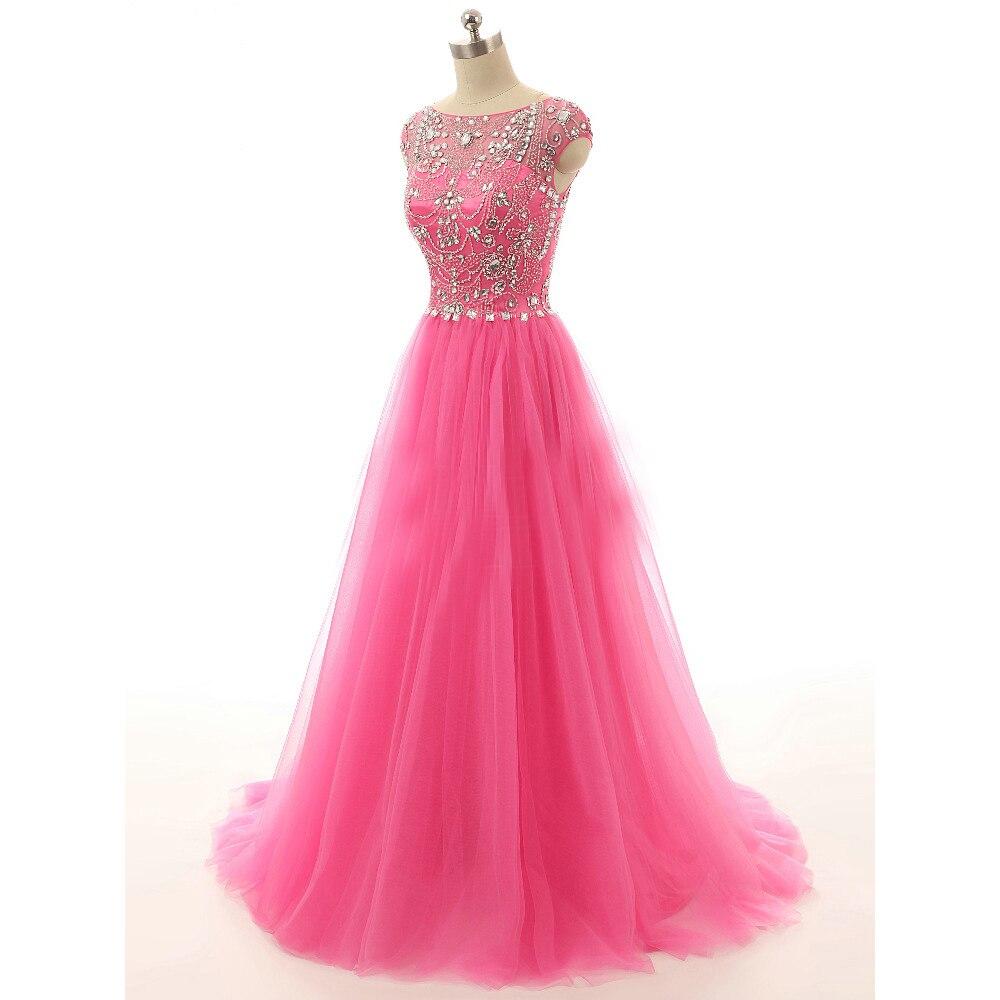 Wuzhiyi Kapmouwtjes kralen Prom dresses 2017 custom made Zachte tulle Crystal roze prom jurk vestido de formatura Nieuwe Collectie - 3