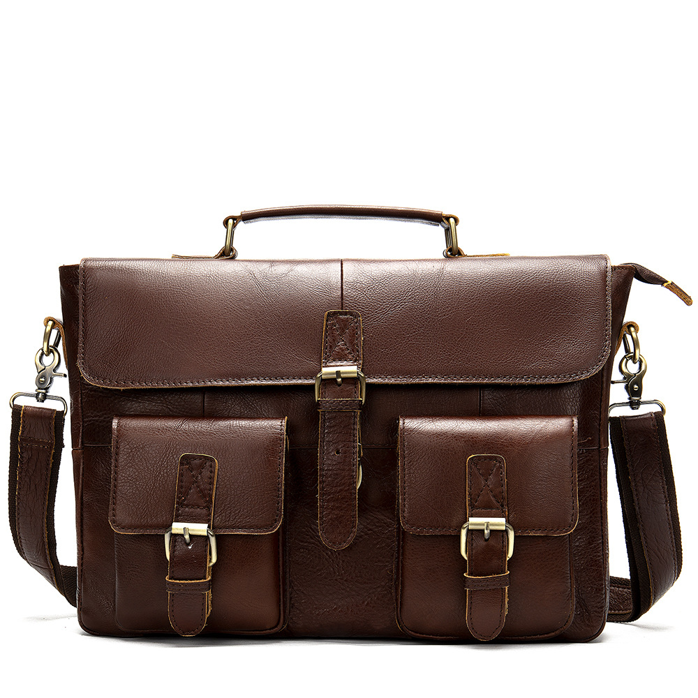 Men's Briefcase Genuine-Leather Tote Computer-Bag Business Luxury New Male 100%Cow