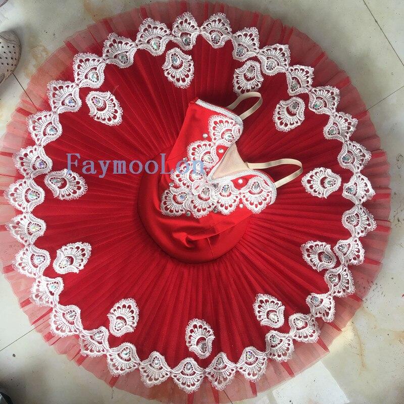Rouge professionnel Tutu adulte lac des cygnes danse Costume Ballet Tutu justaucorps pour femmes crêpe enfants fête patinage robe