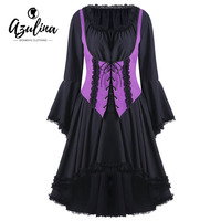 AZULINA Gótico de Halloween Lace Up Dress Scoop Cuello Largo Dos Tonos Midi Vestidos Túnica de manga Otoño Femme Vestido De Festa