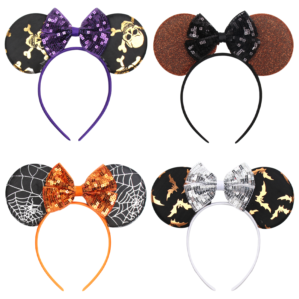 Halloween Minnie Mouse Ears Headband For Girls Printed Sequin Bow Stain Hairband Hair