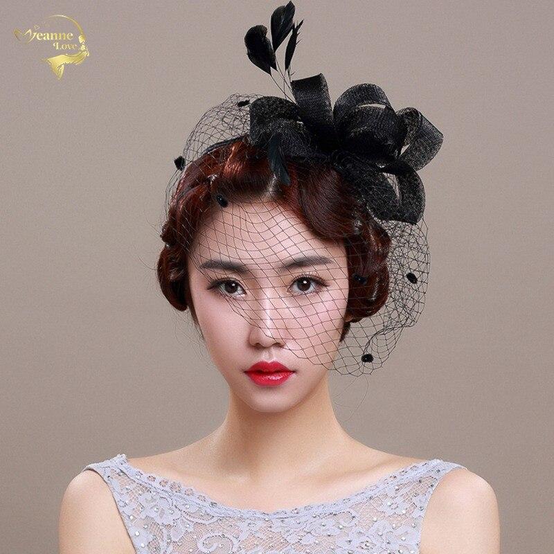 Wedding Hats For Women Vintage Net Bridal Hats Black Wedding Accessorie Brides Fascinator Wedding Birdcage Veil Face Veils BH008