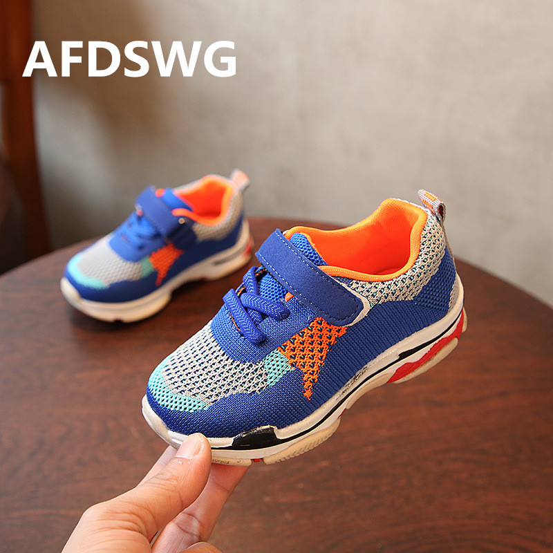 AFDSWG mesh hollow breathable blue kids running shoes black shoes girls children purple  ...