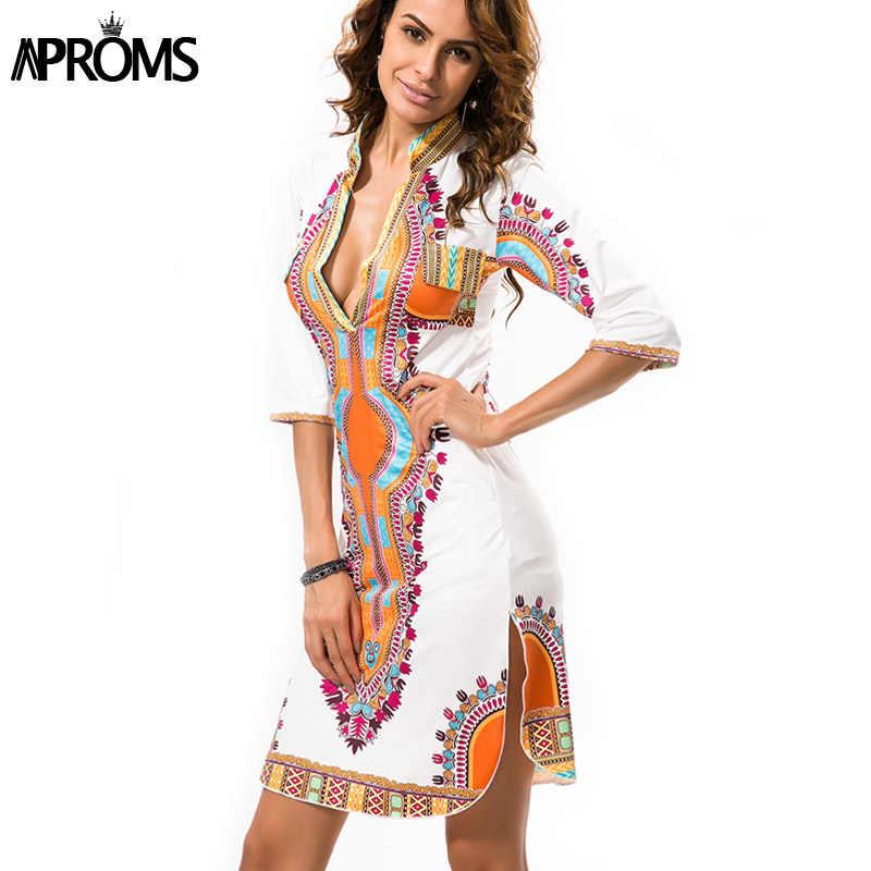 d9385f91 Aproms Robe Femme T shirt Dress 2018 Women Traditional African Print  Dashiki Dresses Sexy Deep V