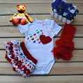 2015 Summer Brand new born baby clothing set Baby Girls Cotton White Applique Romper Set 3 Pieces Newborn clothes 0-9 months