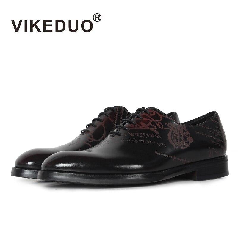 VIKEDUO 2019 Vintage clásico Zapatos de los hombres Blake de ocio de cuero de becerro genuino zapato de hombre calzado Formal boda Oficina Zapatos