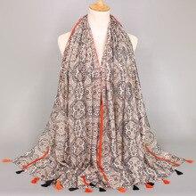 Индийский богемный цветочный принт шали кисточки мусульманский хиджаб обертывание осенние популярные длинные шарфы-повязки/шарф 10 шт./партия