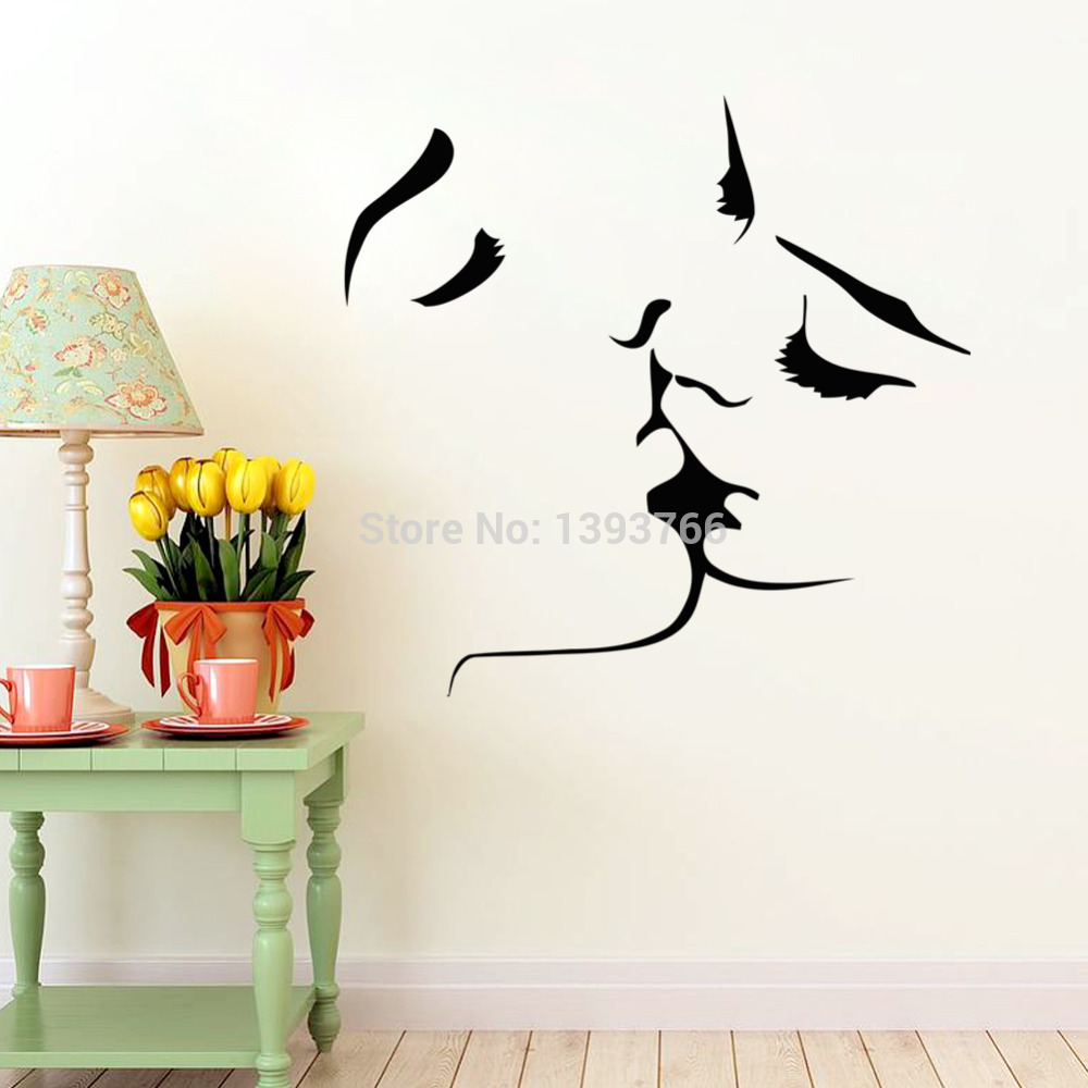 best selling kiss wall stickers home decor 8468. Black Bedroom Furniture Sets. Home Design Ideas