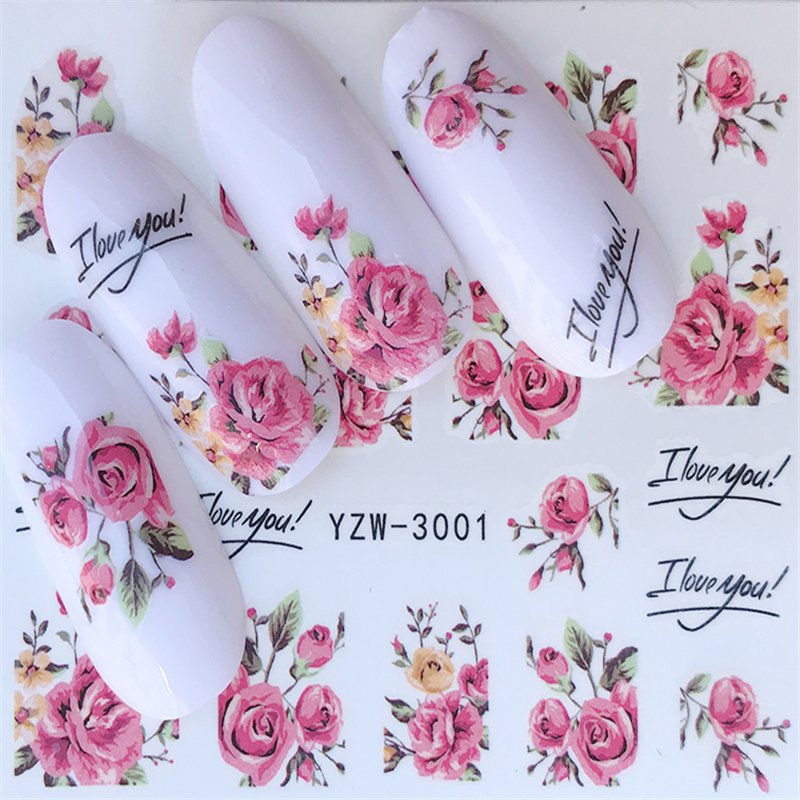 1 Sheet Fashion Rose Flower Nail Art Water Transfer Stickers Decals Tip Decoration DIY for Nails Accessories