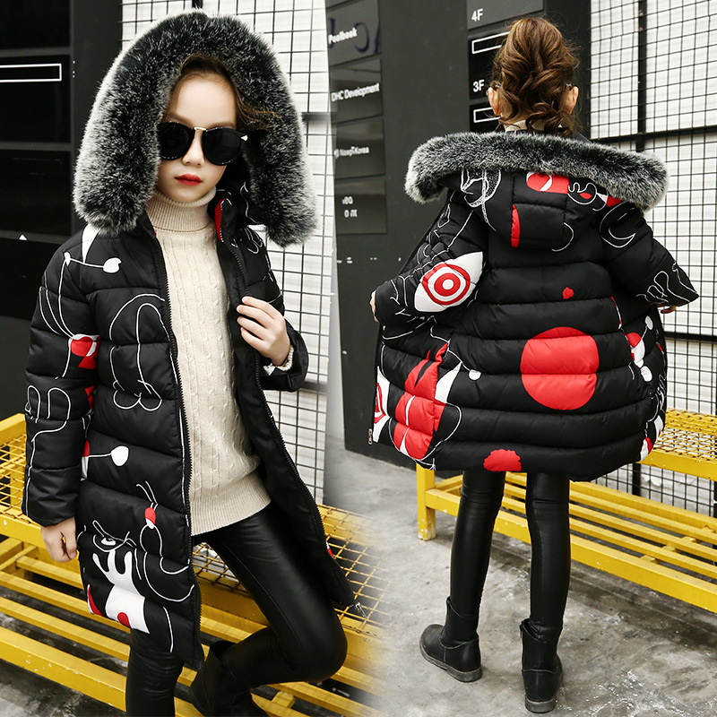 Winter Fur Collar Hooded Child Casual Down Jackets Black Teenage Girls Cotton-Padded Coat Long Style Girls Winter Parkas TZ369 pinky is black 2017 winter jacket women diamond spliced down cotton padded natural fur winter coat women rhinestone long parkas